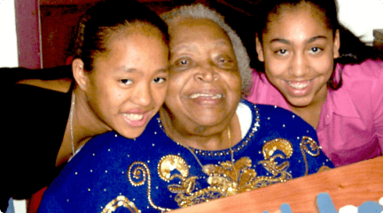grand mother with her grand kids